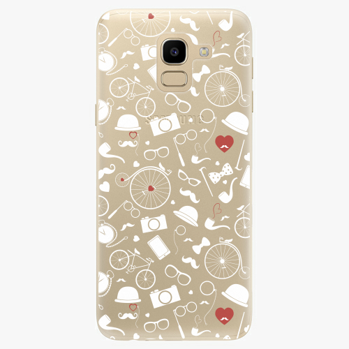 Silikonové pouzdro iSaprio - Vintage Pattern 01 white na mobil Samsung Galaxy J6