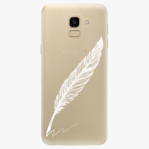 Silikonové pouzdro iSaprio - Writing By Feather white na mobil Samsung Galaxy J6