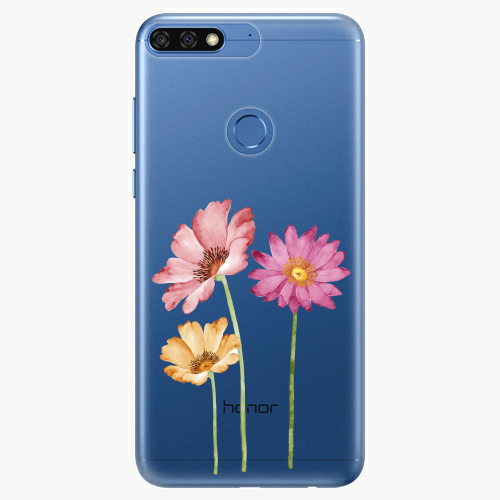 Silikonové pouzdro iSaprio - Three Flowers na mobil Honor 7C