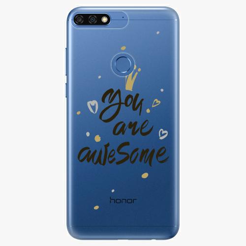 Silikonové pouzdro iSaprio - You Are Awesome black na mobil Honor 7C