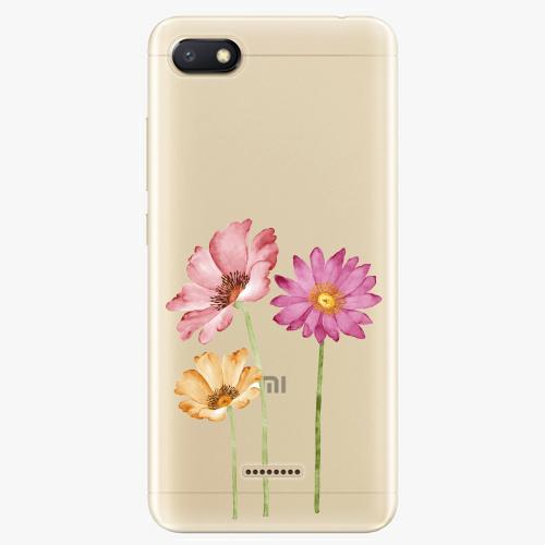 Silikonové pouzdro iSaprio - Three Flowers na mobil Xiaomi Redmi 6A