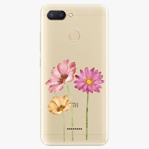 Silikonové pouzdro iSaprio - Three Flowers na mobil Xiaomi Redmi 6