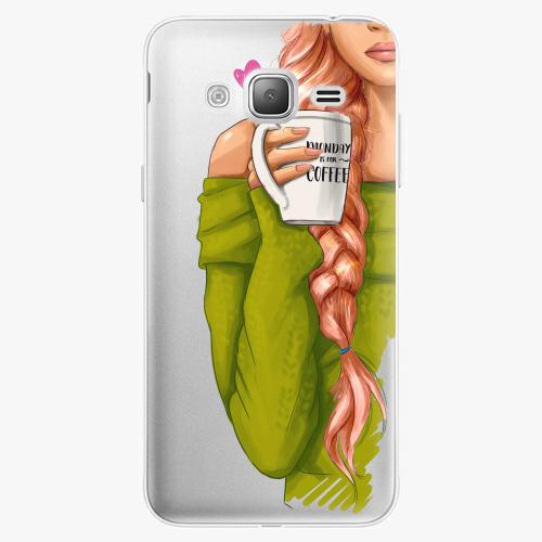 Silikonové pouzdro iSaprio - My Coffe and Redhead Girl na mobil Samsung Galaxy J3 2016