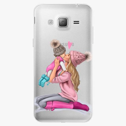 Silikonové pouzdro iSaprio - Kissing Mom / Blond and Girl na mobil Samsung Galaxy J3 2016