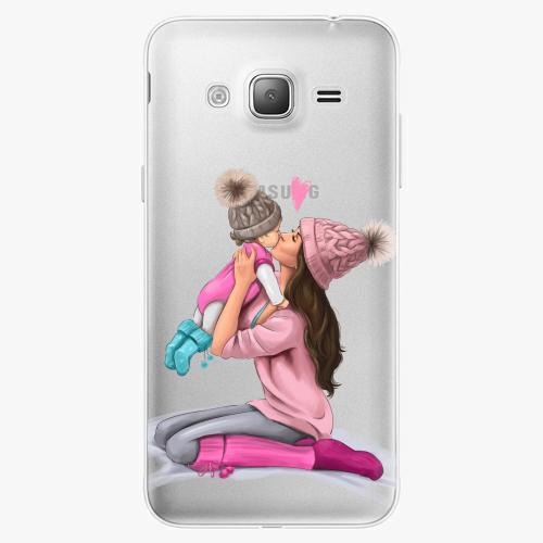 Silikonové pouzdro iSaprio - Kissing Mom / Brunette and Girl na mobil Samsung Galaxy J3 2016