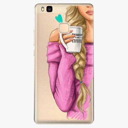 Silikonové pouzdro iSaprio - My Coffe and Blond Girl na mobil Huawei P9 Lite