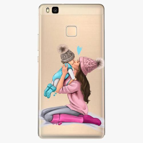Silikonové pouzdro iSaprio - Kissing Mom / Brunette and Boy na mobil Huawei P9 Lite