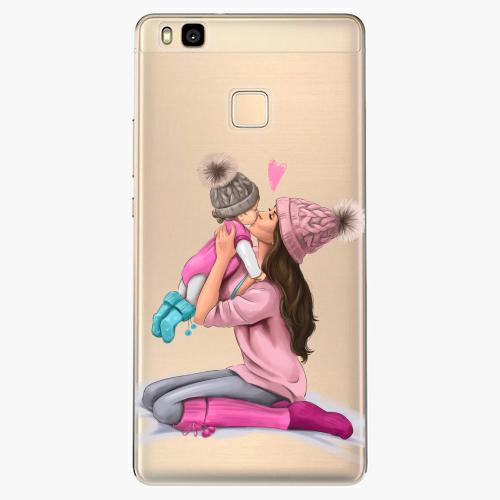 Silikonové pouzdro iSaprio - Kissing Mom / Brunette and Girl na mobil Huawei P9 Lite