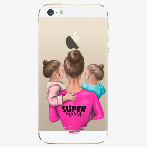 Silikonové pouzdro iSaprio - Super Mama na mobil Two Girls na mobil Apple iPhone 5/ 5S/ SE