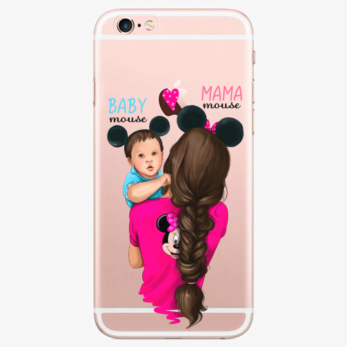 Silikonové pouzdro iSaprio - Mama Mouse Brunette and Boy na mobil Apple iPhone 7