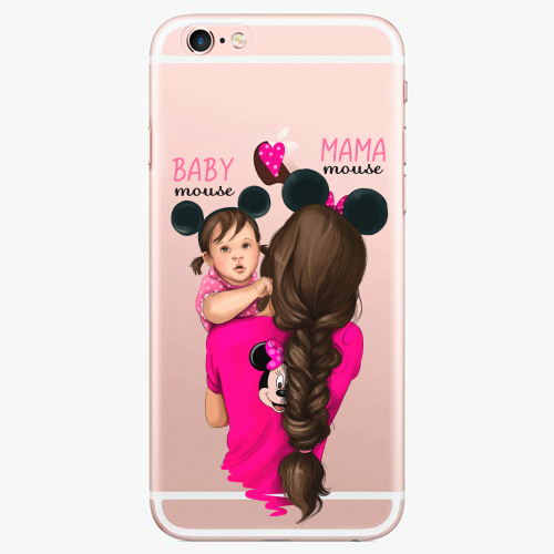 Silikonové pouzdro iSaprio - Mama Mouse Brunette and Girl na mobil Apple iPhone 7