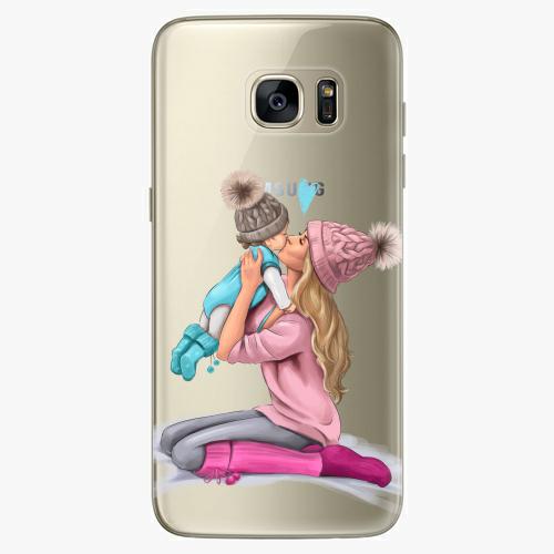 Silikonové pouzdro iSaprio - Kissing Mom / Blond and Boy na mobil Samsung Galaxy S7 Edge