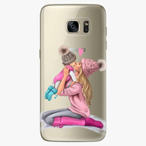 Silikonové pouzdro iSaprio - Kissing Mom / Blond and Girl na mobil Samsung Galaxy S7 Edge