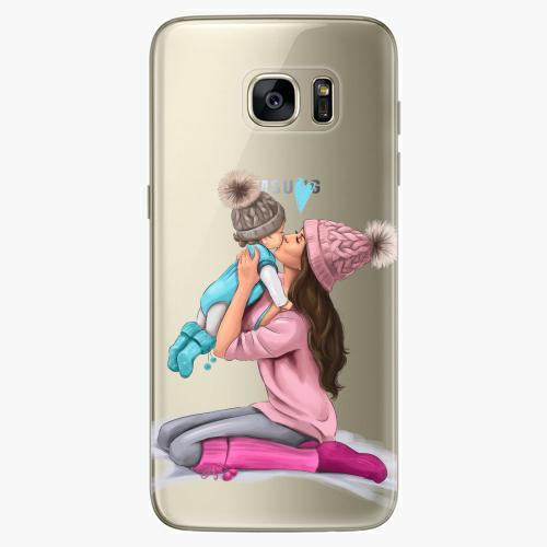 Silikonové pouzdro iSaprio - Kissing Mom / Brunette and Boy na mobil Samsung Galaxy S7 Edge