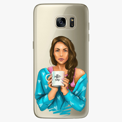 Silikonové pouzdro iSaprio - Coffe Now / Brunette na mobil Samsung Galaxy S7 Edge