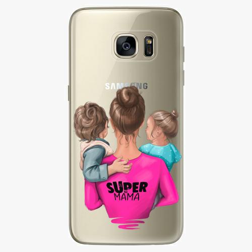 Silikonové pouzdro iSaprio - Super Mama na mobil Boy and Girl na mobil Samsung Galaxy S7 Edge