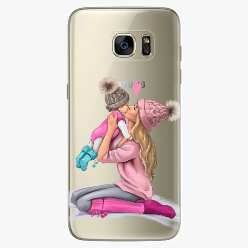 Silikonové pouzdro iSaprio - Kissing Mom / Blond and Girl na mobil Samsung Galaxy S7
