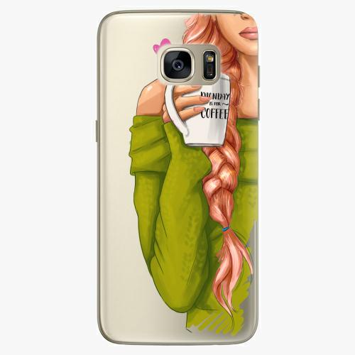 Silikonové pouzdro iSaprio - My Coffe and Redhead Girl na mobil Samsung Galaxy S7 Edge