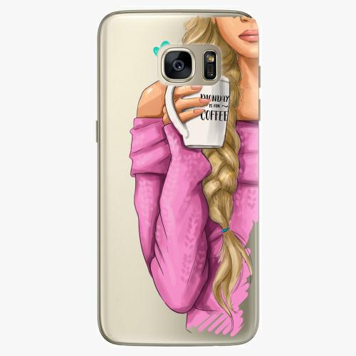 Silikonové pouzdro iSaprio - My Coffe and Blond Girl na mobil Samsung Galaxy S7 Edge