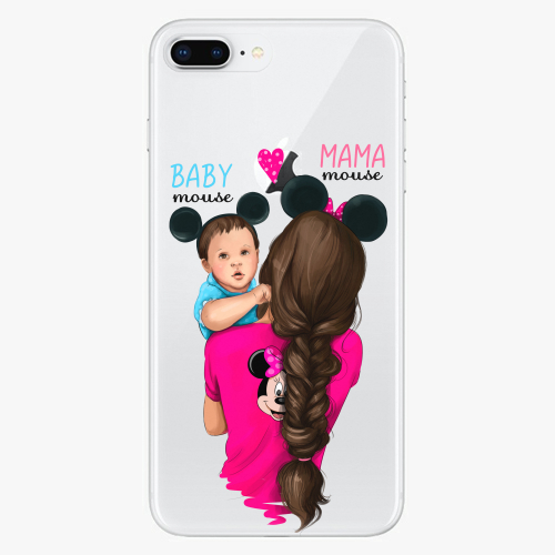Silikonové pouzdro iSaprio - Mama Mouse Brunette and Boy na mobil Apple iPhone 8 Plus
