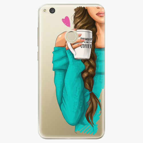 Silikonové pouzdro iSaprio - My Coffe and Brunette Girl na mobil Huawei P9 Lite 2017