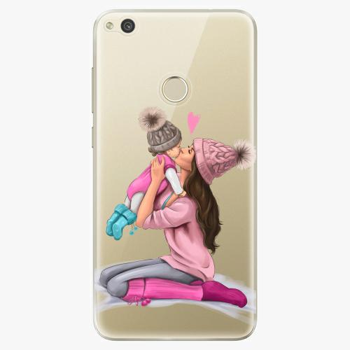 Silikonové pouzdro iSaprio - Kissing Mom / Brunette and Girl na mobil Huawei P9 Lite 2017