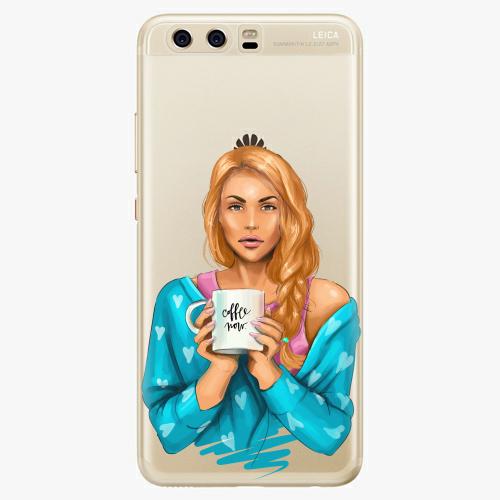 Silikonové pouzdro iSaprio - Coffe Now / Redhead na mobil Huawei P10