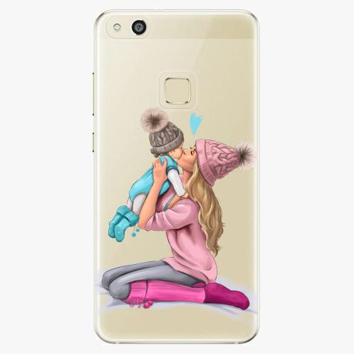 Silikonové pouzdro iSaprio - Kissing Mom / Blond and Boy na mobil Huawei P10 Lite