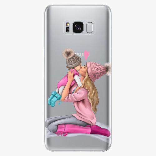 Silikonové pouzdro iSaprio - Kissing Mom / Blond and Girl na mobil Samsung Galaxy S8