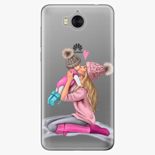 Silikonové pouzdro iSaprio - Kissing Mom / Blond and Girl na mobil Huawei Y6 2017