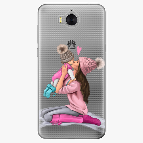 Silikonové pouzdro iSaprio - Kissing Mom / Brunette and Girl na mobil Huawei Y6 2017