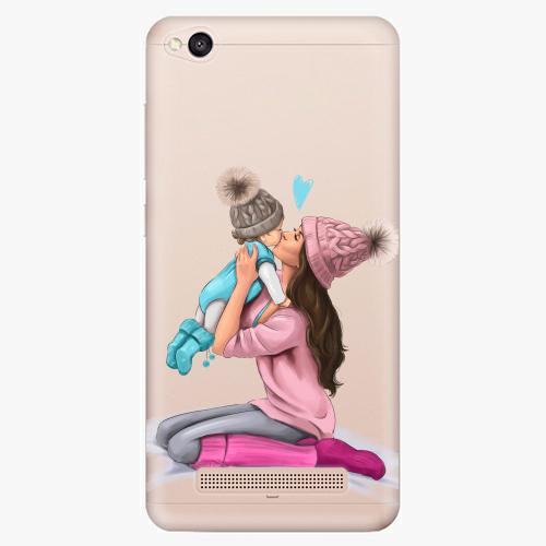 Silikonové pouzdro iSaprio - Kissing Mom / Brunette and Boy na mobil Xiaomi Redmi 4A