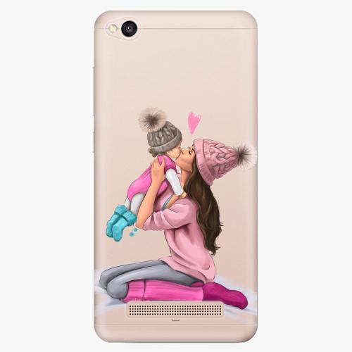 Silikonové pouzdro iSaprio - Kissing Mom / Brunette and Girl na mobil Xiaomi Redmi 4A