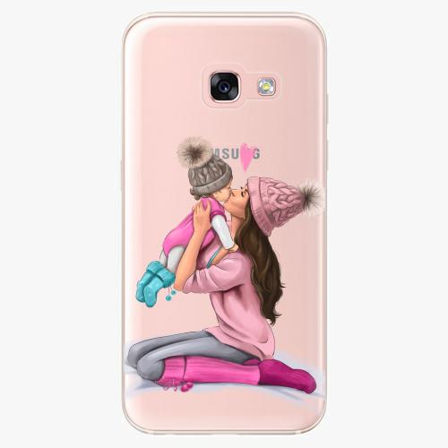 Silikonové pouzdro iSaprio - Kissing Mom / Brunette and Girl na mobil Samsung Galaxy A3 2017