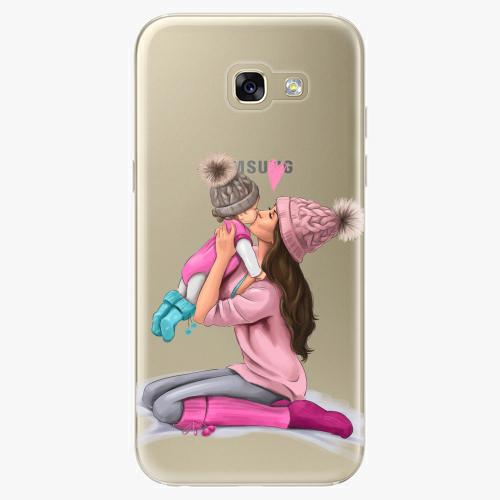 Silikonové pouzdro iSaprio - Kissing Mom / Brunette and Girl na mobil Samsung Galaxy A5 2017