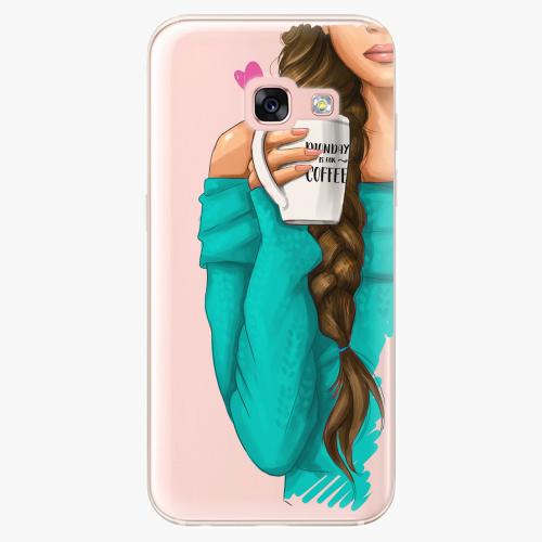 Silikonové pouzdro iSaprio - My Coffe and Brunette Girl na mobil Samsung Galaxy A3 2017