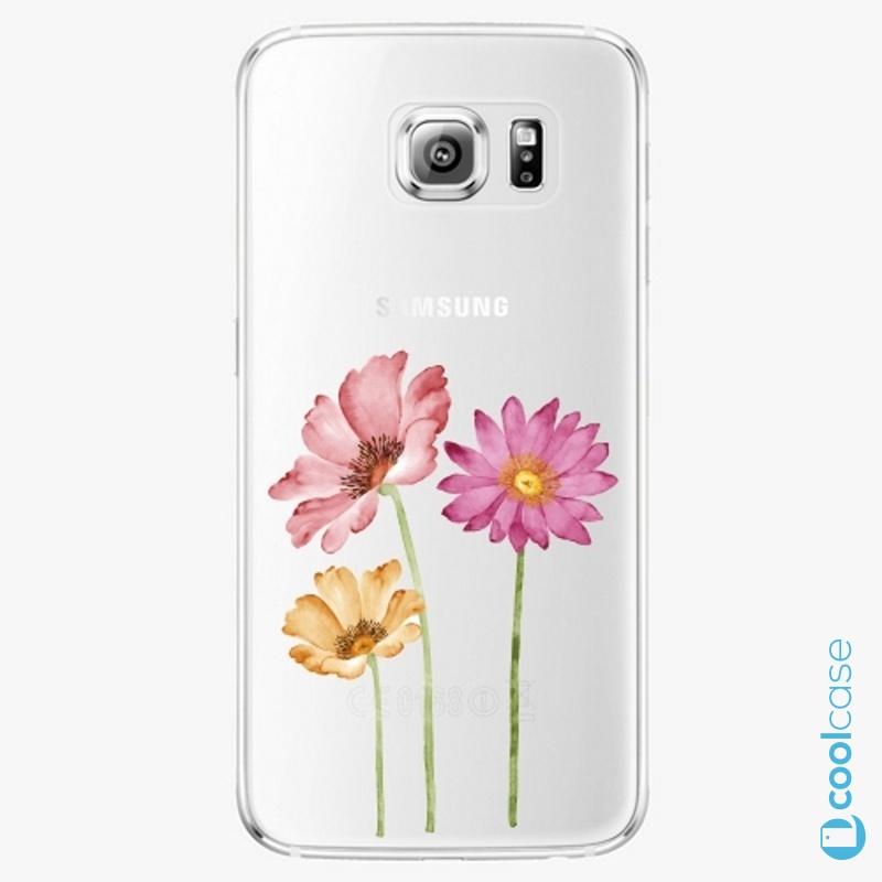 Silikonové pouzdro iSaprio - Three Flowers na mobil Samsung Galaxy S6