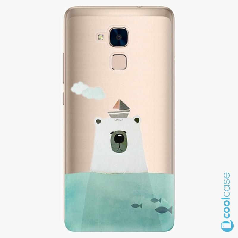 Silikonové pouzdro iSaprio - Bear With Boat na mobil Honor 7 Lite