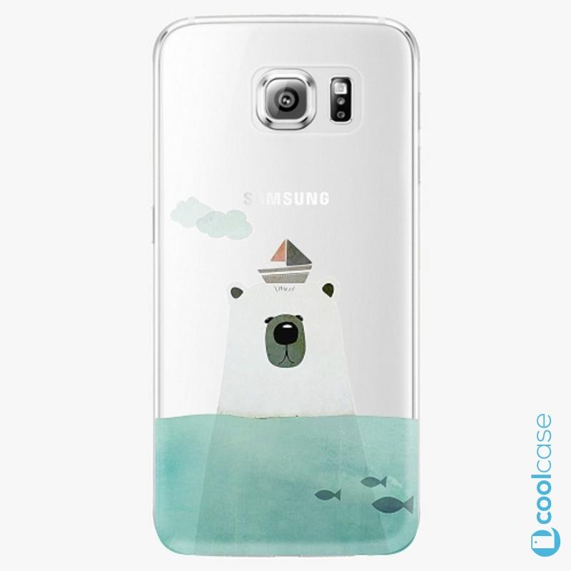 Silikonové pouzdro iSaprio - Bear With Boat na mobil Samsung Galaxy S6
