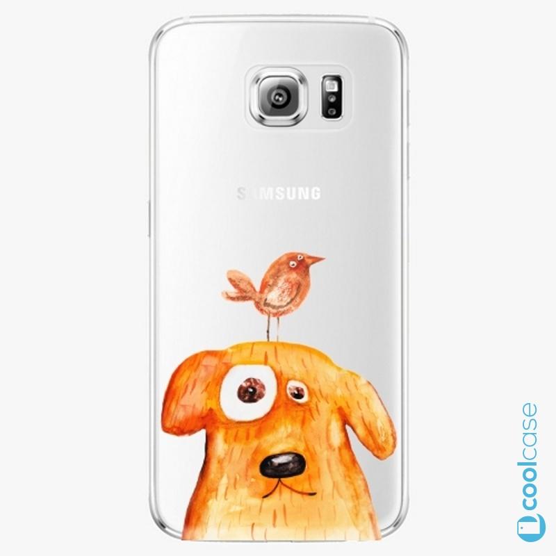 Silikonové pouzdro iSaprio - Dog And Bird na mobil Samsung Galaxy S6