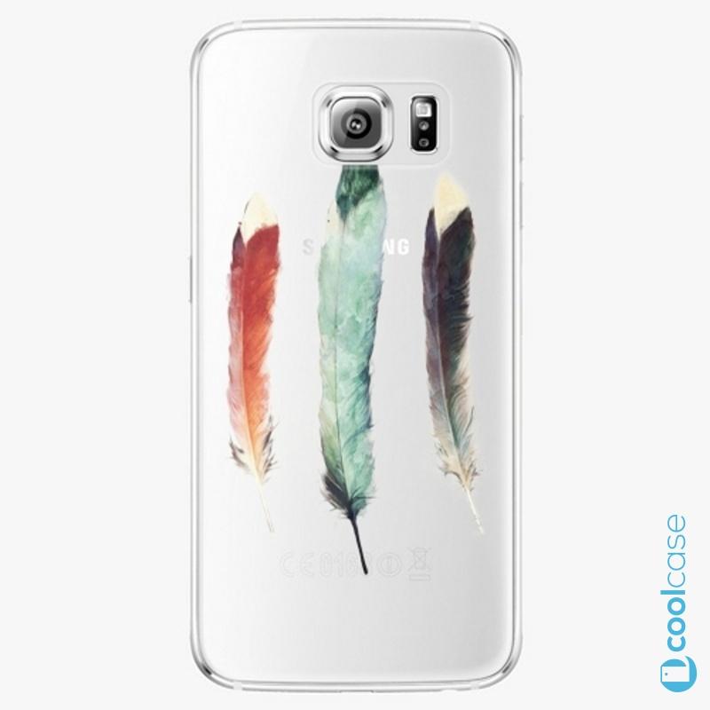 Silikonové pouzdro iSaprio - Three Feathers na mobil Samsung Galaxy S6 Edge