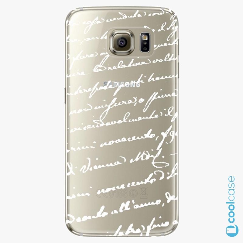 Silikonové pouzdro iSaprio - Handwiting 01 white na mobil Samsung Galaxy S6 Edge
