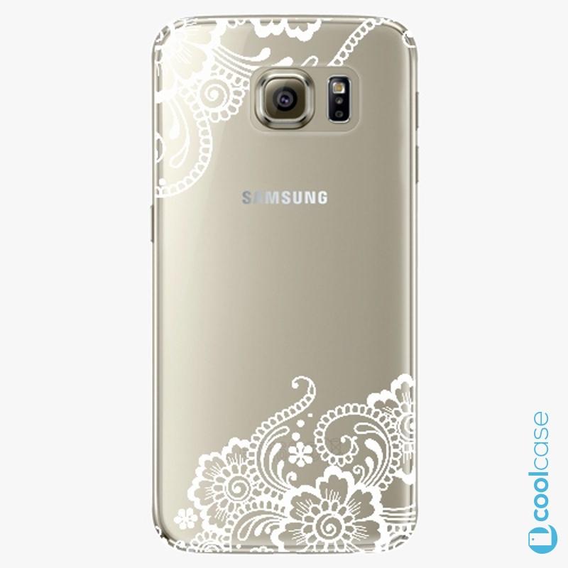 Silikonový obal, pouzdro, kryt iSaprio white Lace 02 na mobil Samsung Galaxy S6 Edge