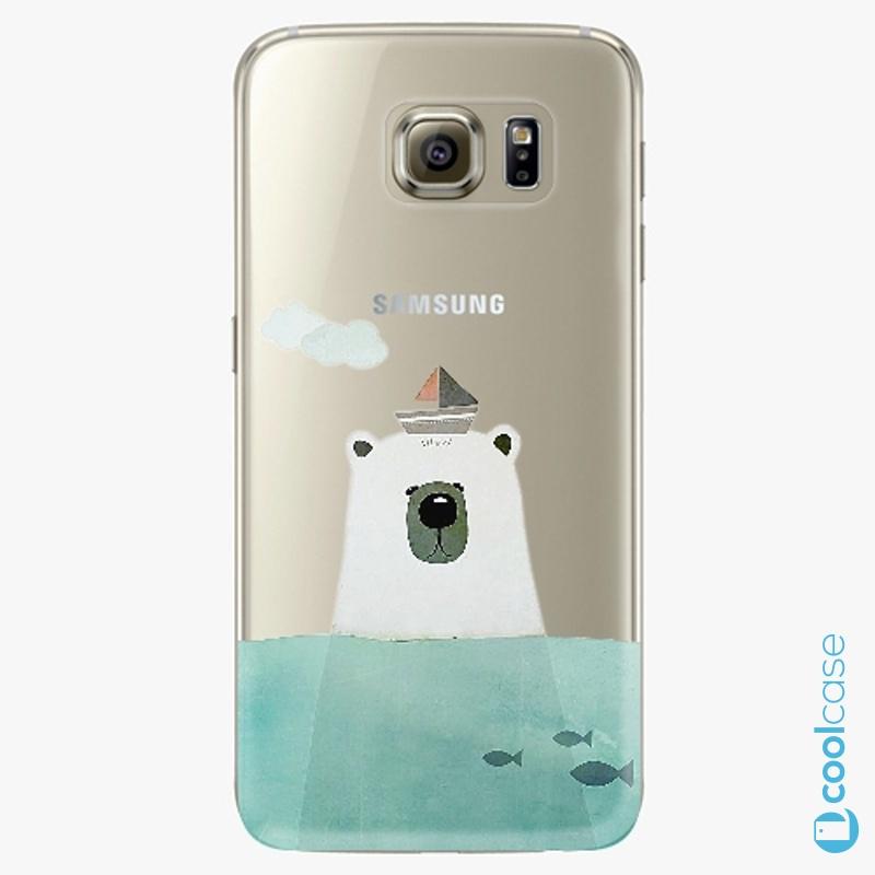 Silikonové pouzdro iSaprio - Bear With Boat na mobil Samsung Galaxy S6 Edge