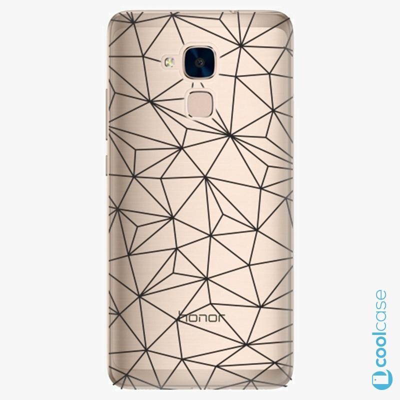 Silikonové pouzdro iSaprio - Abstract Triangles 03 black na mobil Honor 7 Lite
