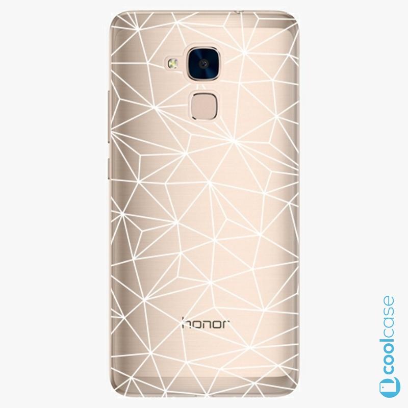 Silikonové pouzdro iSaprio - Abstract Triangles 03 white na mobil Honor 7 Lite