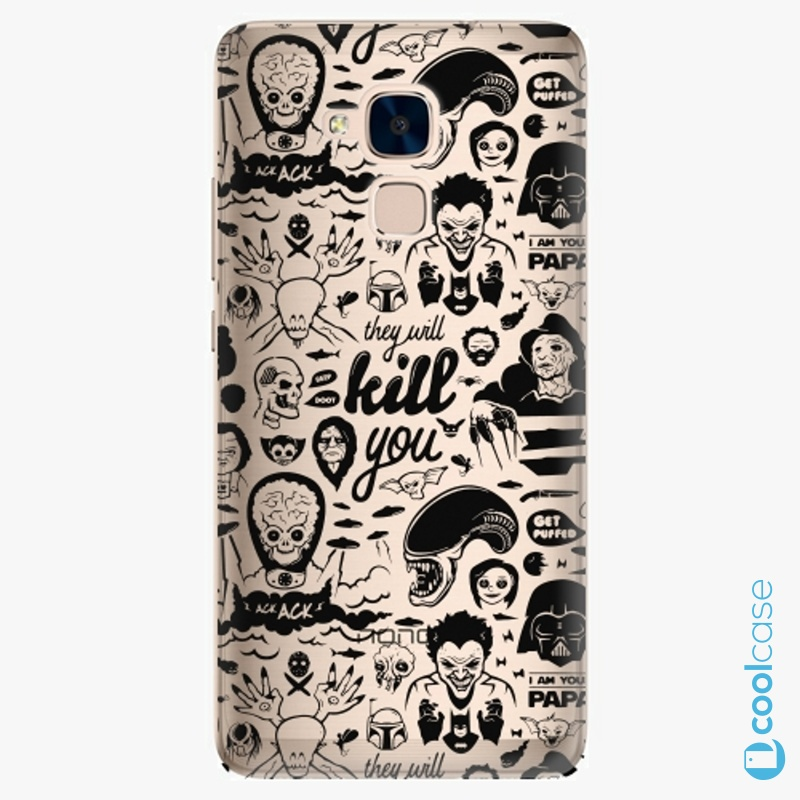 Silikonové pouzdro iSaprio - Comics 01 black na mobil Honor 7 Lite