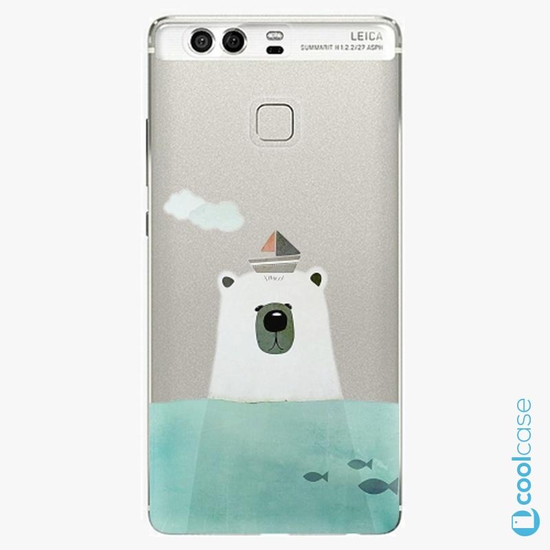 Silikonové pouzdro iSaprio - Bear With Boat na mobil Huawei P9