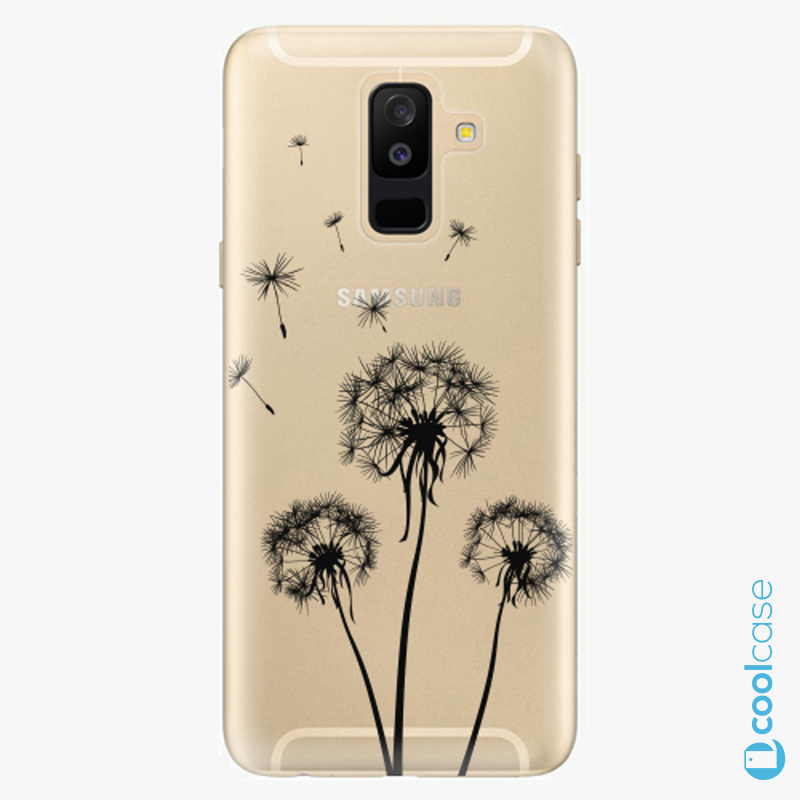 Silikonové pouzdro iSaprio - Three Dandelions black na mobil Samsung Galaxy A6 Plus