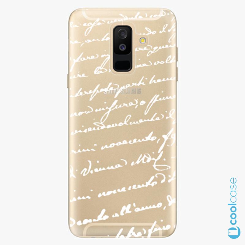 Silikonové pouzdro iSaprio - Handwriting 01 white na mobil Samsung Galaxy A6 Plus
